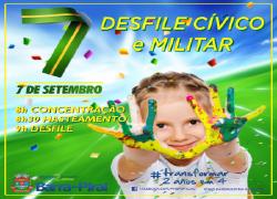 Exército Brasileiro, Polícia Militar, Guarda Municipal, Estudantes, Sociedades Musicais e MotoClubes no desfile de 7 de Setembro em Barra do Piraí