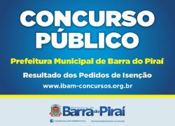 Resultado dos Pedidos de Isenção de Taxa de Inscrição Para o Concurso Público Municipal