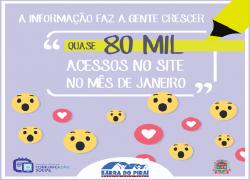 Portal da prefeitura registra quase 80 mil acessos no primeiro mês de governo